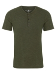 Khaki Triblend Short Sleeve Men's Henley | Polos Collection |Sam's Tailoring Fine Men's Clothing
