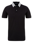 Black Pique Knit Short Sleeve Polo Shirt | Polos Collection |Sam's Tailoring Fine Men's Clothing