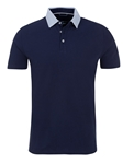 Navy Pique Knit Short Sleeve Polo Shirt | Polos Collection |Sam's Tailoring Fine Men's Clothing