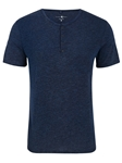 Dark Navy Triblend Short Sleeve Henley | Polos Collection |Sam's Tailoring Fine Men's Clothing