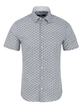 Light Blue Cloud Print Short Sleeve Men Shirt | Short Sleeves Shirts Collection | Fine Men's Clothing