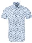 Blue Bird Print Short Sleeve Summer Shirt | Short Sleeves Shirts Collection | Fine Men's Clothing