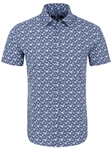 Navy Floral Print Short Sleeve Men's Shirt | Short Sleeves Shirts Collection | Fine Men's Clothing
