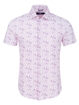Purple Mushroom Print Knit Short Sleeve Shirt | Short Sleeves Shirts Collection | Fine Men's Clothing