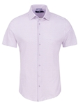 Purple Check Print Knit Short Sleeve Shirt | Short Sleeves Shirts Collection | Fine Men's Clothing