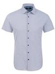 Blue Geometric Print Short Sleeve Shirt | Short Sleeves Shirts Collection | Fine Men's Clothing