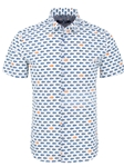 Navy Jumbo Fish Print Short Sleeve Shirt | Short Sleeves Shirts Collection | Fine Men's Clothing