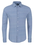 Blue Geometric Knit Long Sleeve Dress Shirt | Dress Shirts Collection | Sams Tailoring Fine Mens Clothing