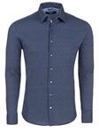 Navy Disty Knit Long Sleeve Men Dress Shirt | Dress Shirts Collection | Sams Tailoring Fine Mens Clothing