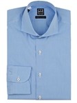 Blue Gingham Cut Away Collar Dress Shirt | IKE Behar Dress Shirts | Sam's Tailoring Fine Men's Clothing