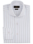 Multi Stripe On White Background Dress Shirt | IKE Behar Dress Shirts | Sam's Tailoring Fine Men's Clothing