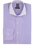 Purple Check on Check Contrast Collar Dress Shirt | IKE Behar Dress Shirts | Sam's Tailoring Fine Men's Clothing
