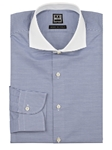 Blue & White Horizontal Stripe Men's Dress Shirt | IKE Behar Dress Shirts | Sam's Tailoring Fine Men's Clothing