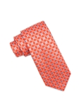 Orange Floral Club Pattern Silk Tie | Ike Behar Ties Collection | Fine Men's Clothing
