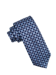 Navy Floral Club Pattern Men Silk Tie | Ike Behar Ties Collection | Fine Men's Clothing