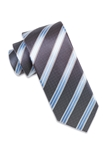 Black Check with Sky Blue/White Stripe Tie | Ike Behar Ties Collection | Fine Men's Clothing