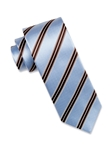 Sky Blue Check with Coffee/White Stripe Tie | Ike Behar Ties Collection | Fine Men's Clothing