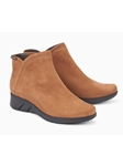 Tobacco Leather Lining Nubuck Zipper Boot | Women Boots Collection | Sam's Tailoring
