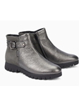 Steel Grey Metallic Leather Nubuck Zipper Boot | Women Boots Collection | Sam's Tailoring