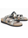 Grey Metallic Leather Buckle Fastener Sandal | Women's Classic Sandals | Sams Tailoring