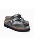 Grey Metallic Leather Buckle Classic Sandal | Women's Classic Sandals | Sams Tailoring