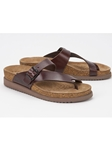 Chestnut Smooth Leather Buckle Fastener Sandal | Women's Classic Sandals | Sams Tailoring