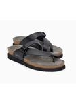 Black Smooth Leather Buckle Fastener Sandal | Women's Classic Sandals | Sams Tailoring