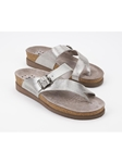 Silver Metallic Leather Buckle Classic Sandal | Women's Classic Sandals | Sams Tailoring