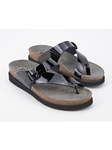 Black Patent Leather Buckle Fastener Sandal | Women's Classic Sandals | Sams Tailoring