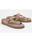 Camel Nubuck Buckle Fastener Classic Sandal | Women's Classic Sandals | Sams Tailoring