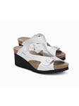 Silver Snake Print Leather Cork Footbed Wedge Sandal | Women Cork Footbed Wedges | Sam's Tailoring