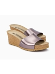 Bronze Metallic Leather Cork Footbed Wedge Sandal | Women Cork Footbed Wedges | Sam's Tailoring