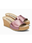 Pink Metallic Leather Cork Footbed Wedge Sandal | Women Cork Footbed Wedges | Sam's Tailoring