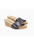 Black Patent Leather Cork Footbed Wedge Sandal | Women Cork Footbed Wedges | Sam's Tailoring