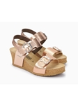 Rose Gold Metallic Leather Women's Wedge Sandal | Women Cork Footbed Wedges | Sam's Tailoring