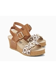Camel/Off White Geomteric Pattern Wedge Sandal | Women Cork Footbed Wedges | Sam's Tailoring