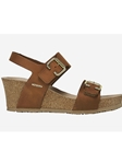 Chestnut Smooth Leather Wedge Heel Sandal | Women Cork Footbed Wedges | Sam's Tailoring