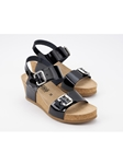 Black Patent Leather Cork Footbed Women's Sandal | Women Cork Footbed Wedges | Sam's Tailoring