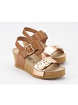Camel Smooth & Metallic Leather Women's Sandal | Women Cork Footbed Wedges | Sam's Tailoring