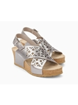 Silver Metallic Leather Buckle Fastener Wedge Sandal | Women's Wedges Sandal | Sam's Tailoring