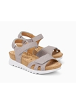 Light Taupe Leather With Geometric Pattern Sandal | Women's Ankle Straps Sandal | Sams Tailoring