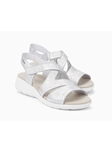 Silver Leather Floral Print Women Ankle Strap Sandal | Women's Ankle Straps Sandal | Sams Tailoring