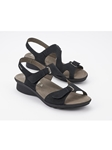 Black Leather Lining Nubuck Ankle Straps Sandal | Women's Ankle Straps Sandal | Sams Tailoring