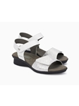 White Smooth & Metallic Leather Ankle Strap Sandal | Women's Ankle Straps Sandal | Sams Tailoring