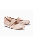 Light Pink Pearl Leather Stretchable Women Shoe | Women's Flat Shoes | Sams Tailoring