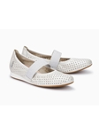 Pearly White Pearl Leather Stretchable Women Shoe | Women's Flat Shoes | Sams Tailoring