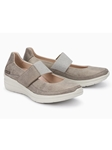 Taupe Nubuck With Reptile Pattern Women's Shoe | Women's Flat Shoes | Sams Tailoring