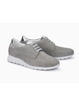 Light Grey Nubuck Leather With Mirror Effect Shoe | Women's Flat Shoes | Sams Tailoring
