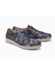 Navy Snake Print Smooth Leather Women Sneaker | Women's Sneakers Collection | Sams Tailoring