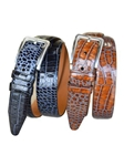 Cognac Italian Calfskin Leather Alligator Design Belt | Lejon Belts collection | Sam's Tailoring Fine Men Clothing